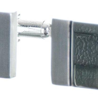 Manžetové knoflíčky s leským a matným pruhem, rhodiované z chirurgické oceli chirurgická ocel hranaté bez kamínku masivní ples a svatba MK0074-0112