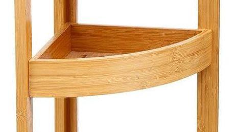 5five Simple Smart Bambusový regál dokoupelny, rohový regál, regál spoličkami, regál veskandinávském stylu, bambusová police, koupelnový nábytek