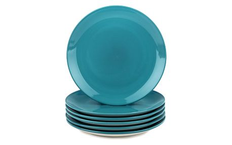 Altom Sada porcelánových dezertních talířů Monokolor 19 cm tyrkysová, 6 ks