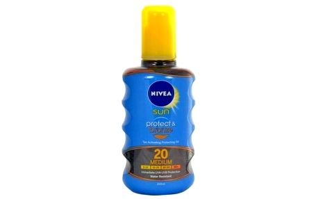 Nivea Sun Protect & Bronze Oil Spray SPF20 200 ml voděodolný opalovací olej ve spreji unisex