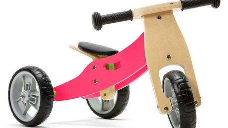 NICKO Dřevěné odrážedlo 2v1 mini tříkolka – růžové