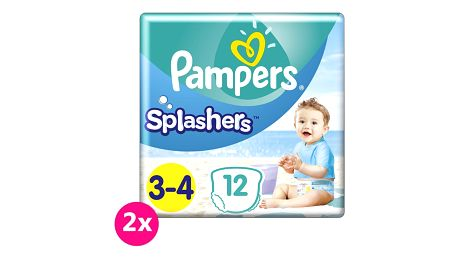 2x PAMPERS Pants Splashers Carry Pack vel. 3-4 (6-11 kg), 12 ks - jednorázové pleny do vody
