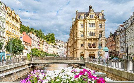 Karlovy Vary v hotelu v centru lázeňské zóny se snídaní/polopenzí i se vstupem do Alžbětiných lázní – přes léto