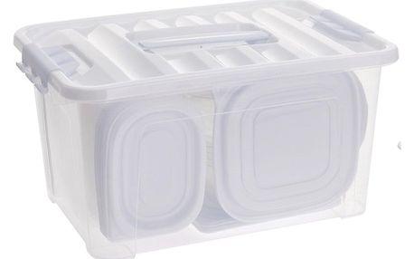 Sada plastových dóz s víky, 27 ks