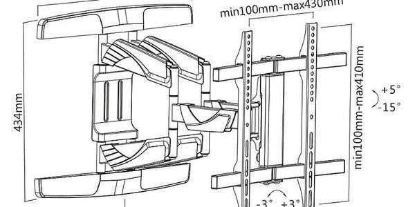 """Držák TV GoGEN L-Curve polohovatelný, pro úhlopříčky 32"""" až 55"""", nosnost 45 kg černý (GOGDRZAKTURNCURV)4"""