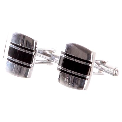 Manžetové knoflíčky čtvercové s černým pruhem, rhodiované z chirurgické oceli chirurgická ocel hranaté bez kamínku ples a svatba MK0052-0112