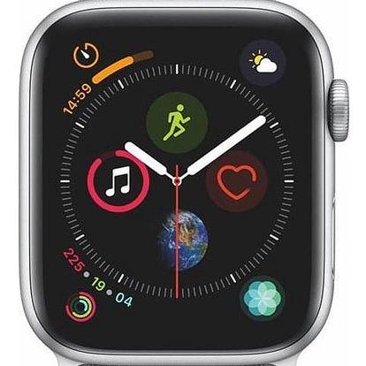 Apple Watch Series 4 GPS 44mm pouzdro ze stříbrného hliníku - mušlově bílý provlékací sportovní řemínek SK verze (MU6C2VR/A)