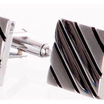 Manžetové knoflíčky čtvercové s pruhy, rhodiované z chirurgické oceli chirurgická ocel hranaté bez kamínku elegantní masivní ples a svatba MK0064-0112