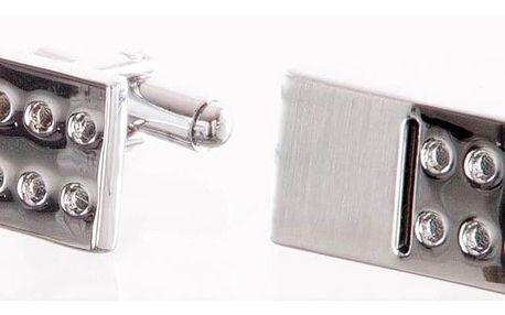 Manžetové knoflíčky obdelník s hrací kostkou, rhodiované z chirurgické oceli chirurgická ocel hranaté bez kamínku masivní ples a svatba MK0056-0112