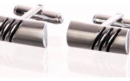 Manžetové knoflíčky obdelníkové, rhodiované z chirurgické oceli chirurgická ocel hranaté bez kamínku elegantní masivní ples a svatba MK0063-0112
