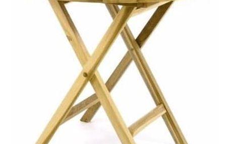 DIVERO 60388 Zahradní stůl sklopný z teakového dřeva - Ø 80 cm