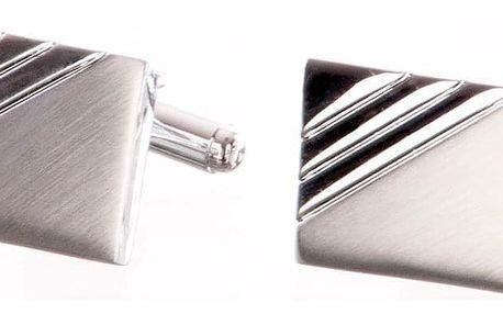Manžetové knoflíčky s lesklou a matnou částí, rhodiované z chirurgické oceli chirurgická ocel hranaté bez kamínku masivní ples a svatba MK0058-0112