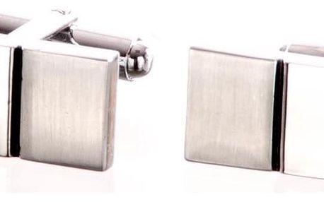 Manžetové knoflíky obdélník s pruhy z chirurgické oceli, rhodiované