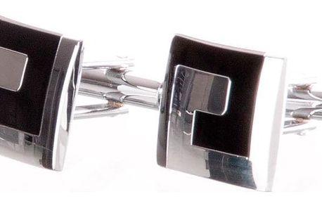 Manžetové knoflíčky čtverec, dvoubarevné, rhodiované z chirurgické oceli chirurgická ocel hranaté bez kamínku masivní ples a svatba MK0060-0112