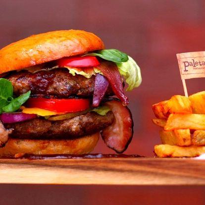 Dvojitý burger s domácími hranolky pro 1 i 2 os.
