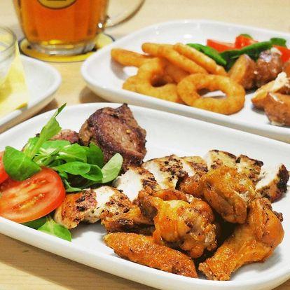 Masová hostina pro 2–4: kuřecí i vepřové a přílohy