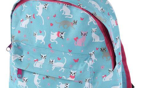 Koopman Dětský batoh Kočičky modrá, 21 x 27 x 8,5 cm