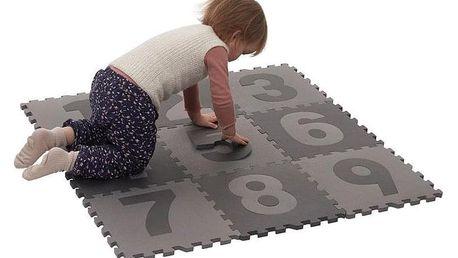 BABYDAN Hrací podložka puzzle Grey s čísly 90x90 cm