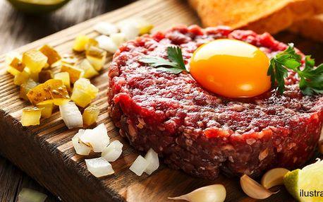Porce masa: 300g tatarák z hovězího zadního