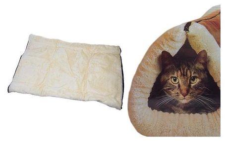Plyšový pelíšek a podložka pro kočky 2 v 1