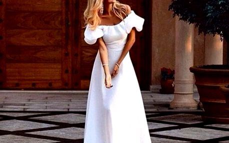 Dlouhé šaty v bílé barvě - 4 velikosti