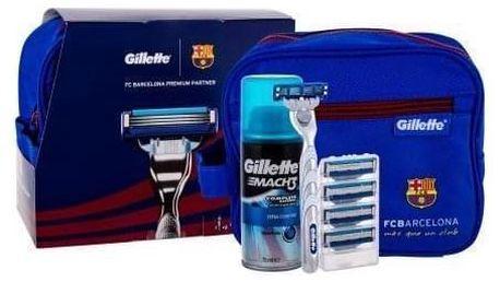 Gillette Mach3 Turbo FC Barcelona dárková kazeta pro muže holicí strojek s jednou hlavicí 1 ks + náhradní hlavice 4 ks + gel na holení Extra Comfort 75 ml + kosmetická taška