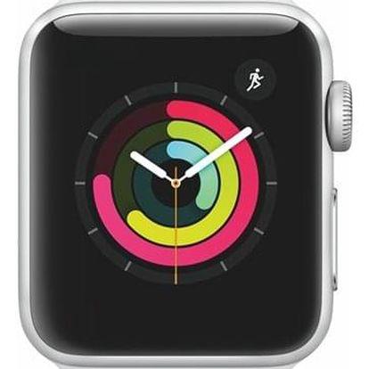 Chytré hodinky Apple Watch Series 3 Watch Series 3 GPS 38mm pouzdro ze stříbrného hliníku - bílý sportovní řemínek (MTEY2CN/A)