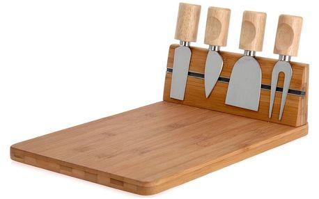 EH Excellent Houseware Bambusové krájecí prkénko pro podávání sýrů a občerstvení + 4 nože