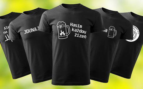 Pánská černá trička s vtipnými pivními motivy