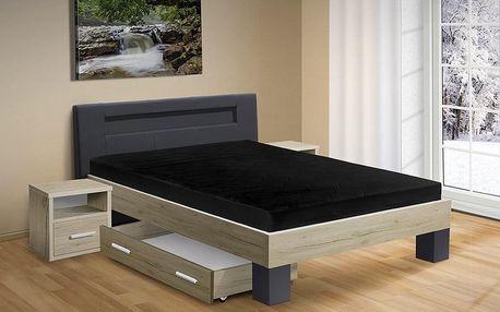 Manželská postel MEADOW 200x160 vč. roštu a matrace dub sonoma