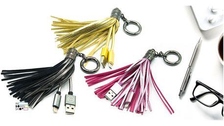 Klíčenka s USB: Ligtning i micro kabel, 4 barvy
