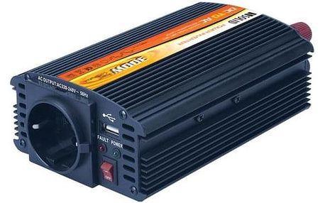 Solight 12V, 300W, kovový, černý, 12V + USB 500mA (221881)