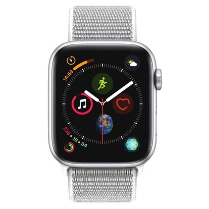 Apple Watch Series 4 GPS 44mm pouzdro ze stříbrného hliníku - mušlově bílý provlékací sportovní řemínek CZ verze (MU6C2HC/A)