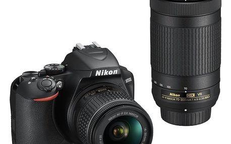 Digitální fotoaparát Nikon D3500 + 18-55 AF-P VR + 70-300 AF-P VR černý (VBA550K005)