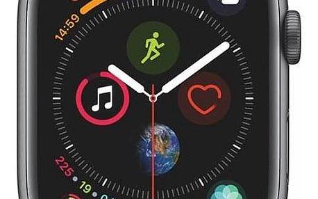 Apple Watch Series 4 GPS 44mm pouzdro z vesmírně šedého hliníku - černý provlékací sportovní řemínek SK verze (MU6E2VR/A)