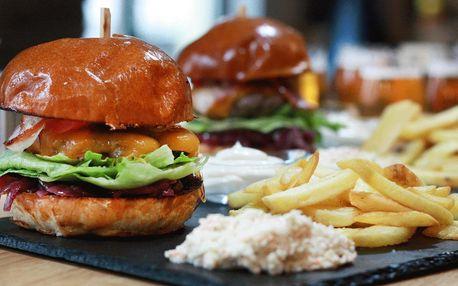 Burger a degustační sada pivních speciálů