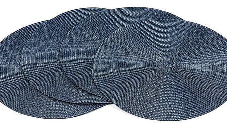 Jahu Prostírání Deco kulaté tmavě modrá, pr. 35 cm, sada 4 ks