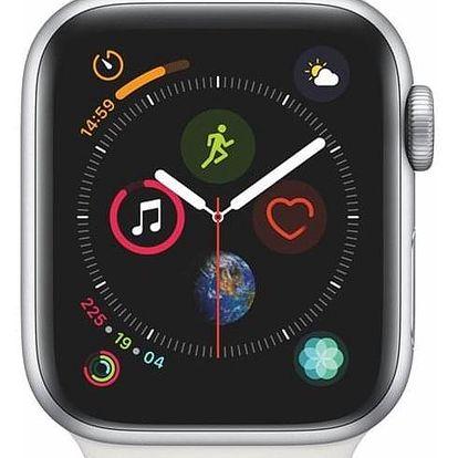 Apple Watch Series 4 GPS 40mm pouzdro ze stříbrného hliníku - bílý sportovní řemínek CZ verze (MU642HC/A)