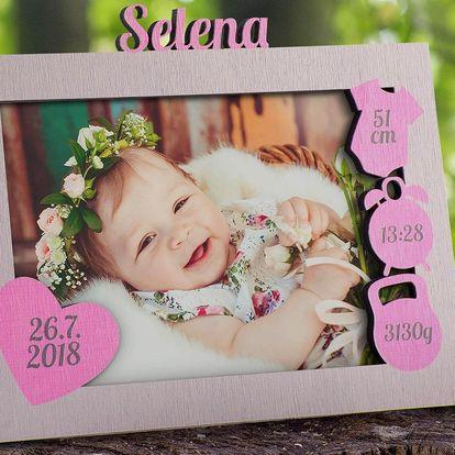 Rámeček na fotku miminka s údaji o narození