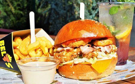 Burger dle výběru ze 7 druhů, hranolky a limonáda