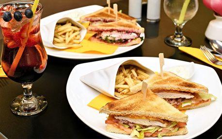 Kuřecí nebo vegetariánský sendvič s nápojem