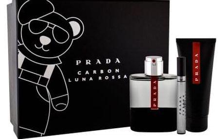 Prada Luna Rossa Carbon dárková kazeta pro muže toaletní voda 100 ml + sprchový gel 100 ml + toaletní voda 10 ml