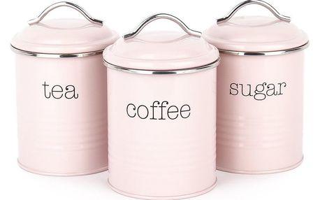 Koopman Sada dóz na kávu, čaj a cukr, růžová