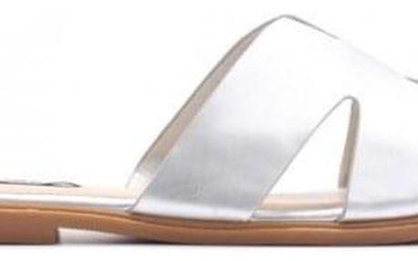 Dámské stříbrné pantofle Harmonia 7301