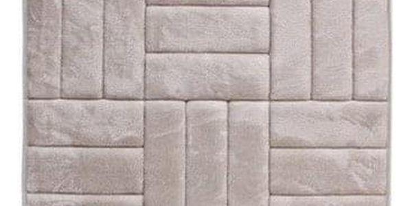 VOPI Koupelnová předložka s paměťovou pěnou Čtverce krémová, 50 x 80 cm