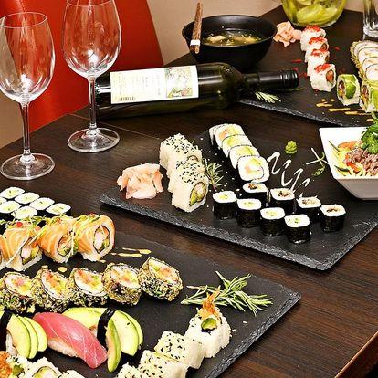 Sushi sety s polévkou, salátem i citronádou