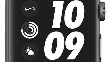 Chytré hodinky Apple Watch Nike+ Series 3 GPS 42mm pouzdro z vesmírně šedého hliníku - antracitový/černý sportovní řemínek Nike (MTF42CN/A)