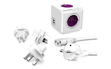 Powercube Rewirable USB+Travel Plugs+IEC, 4x zásuvka, 2x USB, 1m bílý/fialový