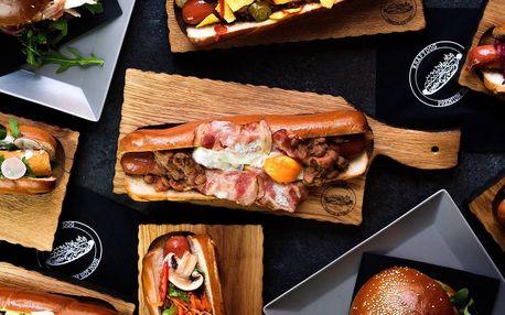 Pořádný hotdog v centru města, i vege varianta