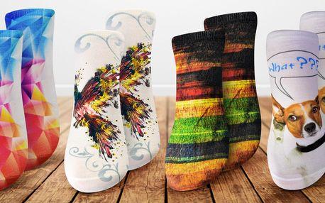 Pestré dámské ponožky s efektním 3D potiskem